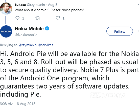 Nokia 3, 5, 6 и 8 получат Android 9 Pie