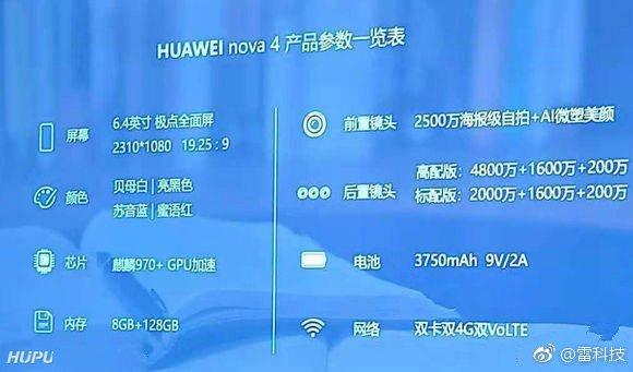 Опубликованы все характеристики смартфона Huawei Nova 4: экран диагональю 6,4 дюйма, SoC Kirin 970, 8 ГБ ОЗУ и 48-мегапиксельная камера