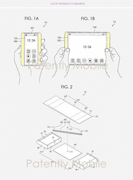 Samsung патентует смартфон с растягивающимся дисплеем, трансформируемый в планшет