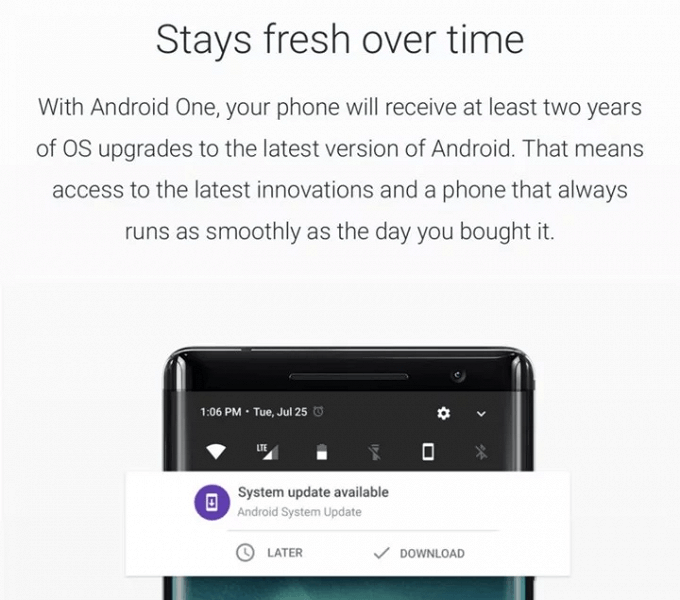 Google удалила с официального сайта Android One упоминание гарантированных обновлений в течение двух лет