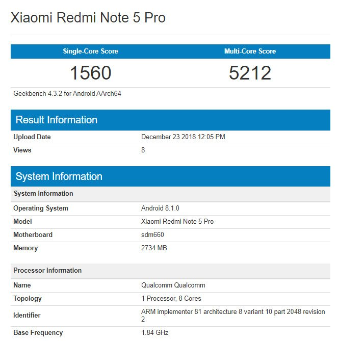 Xiaomi Redmi Note 5 Pro с Android Pie и в версии с другим чипом появился в Geekbench – фото 1