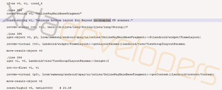 Экранный сканер отпечатков пальцев в Galaxy S10 подтверждён кодом Samsung Pay