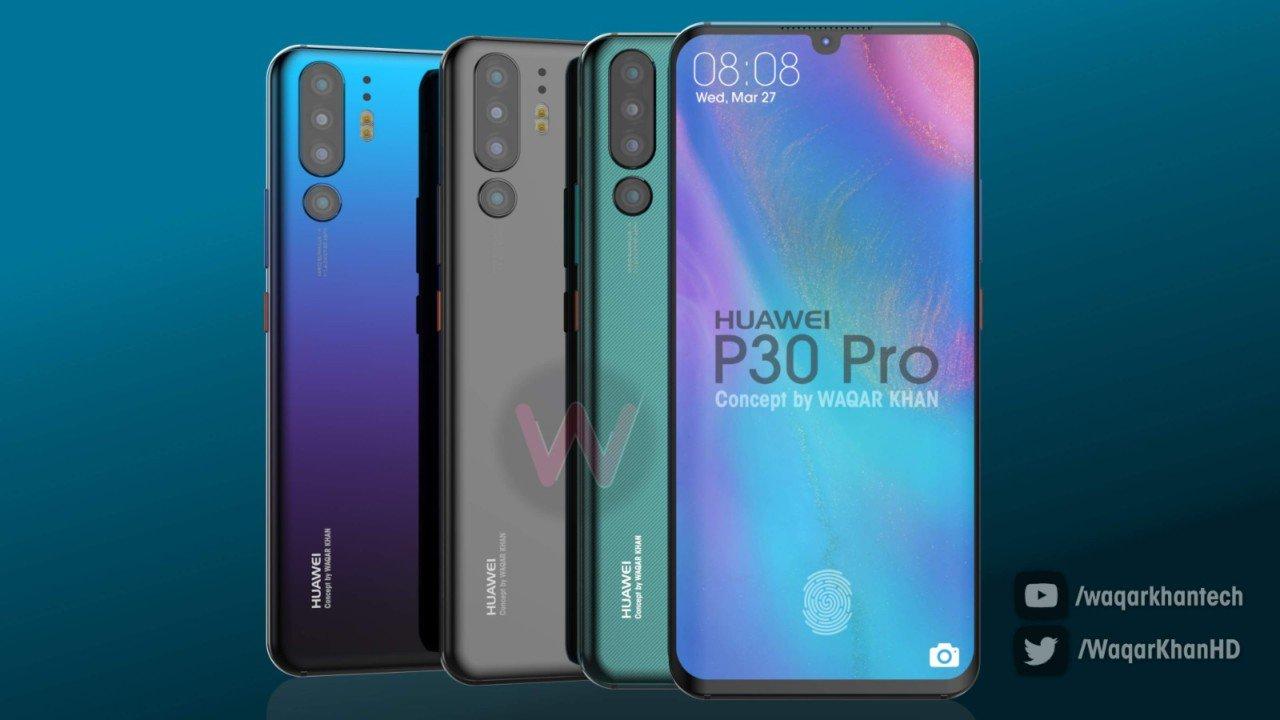 Флагманский камерофон Huawei P30 Pro позирует на новых рендерах