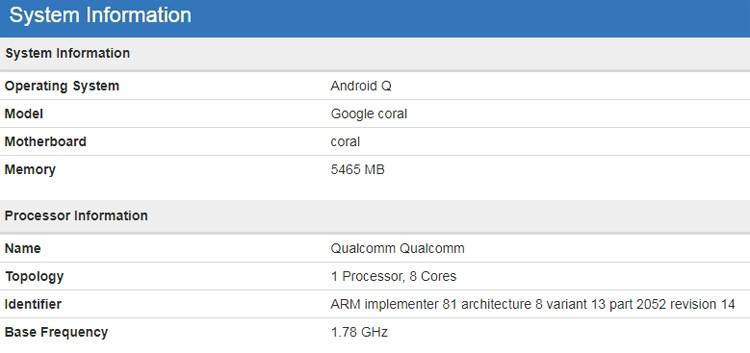 Загадочное устройство Google Coral с чипом Snapdragon 855 замечено в бенчмарке