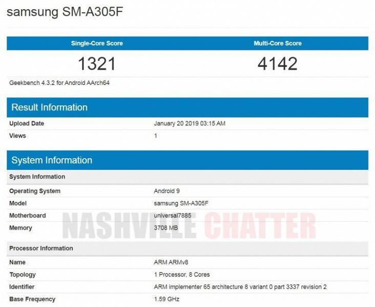 Samsung Galaxy A30 построен на SoC Exynos 7885 и имеет 4 ГБ оперативной памяти