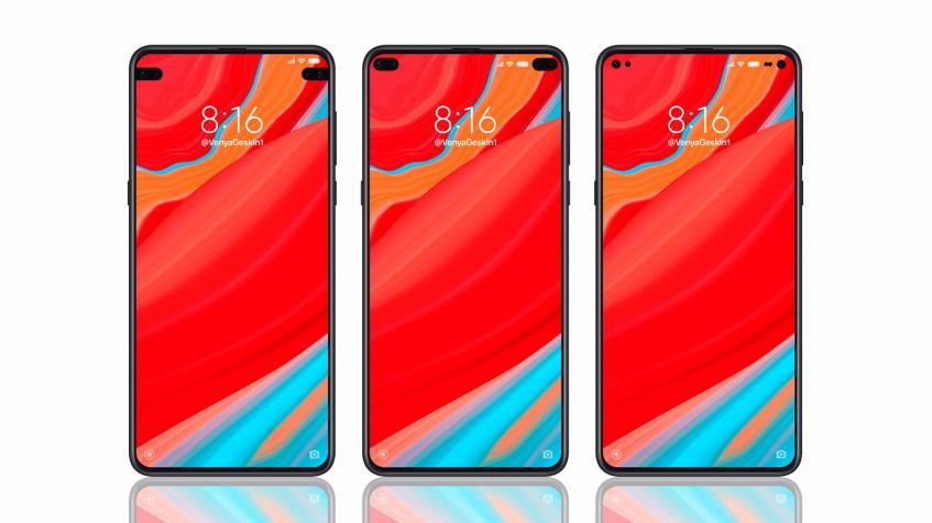 Смартфон Xiaomi c двумя симметричными вырезами экрана позирует на рендере
