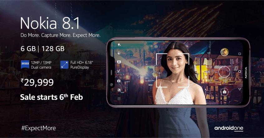 Nokia 8.1 с 6 ГБ ОЗУ и 128 ГБ флэш-памяти выйдет 6 февраля по цене 0