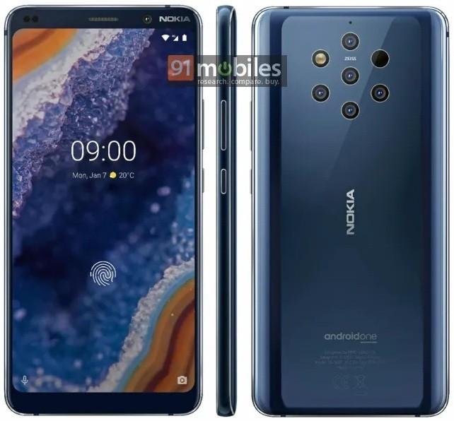 Пресс-фото Nokia 9 PureView с пятью камерами и сканером в экране