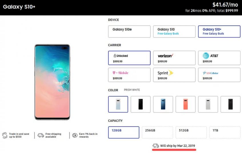 Позже, чем ожидалось. Некоторые версии Samsung Galaxy S10 и Galaxy S10+ уже задерживаются