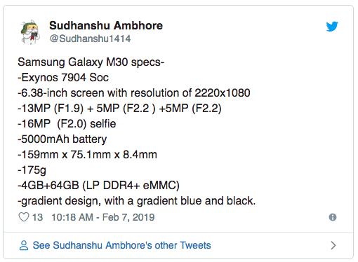 Рассекретили характеристики Samsung Galaxy M30 – фото 1