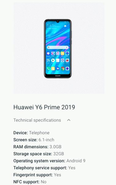 Бюджетный смартфон Huawei Y6 Prime 2019 получил экран диагональю 6,1 дюйма с каплевидным вырезом и сканер отпечатков пальцев