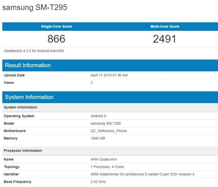 Новый Samsung Galaxy Tab 7.0 (2019) замечен в базе GeekBench