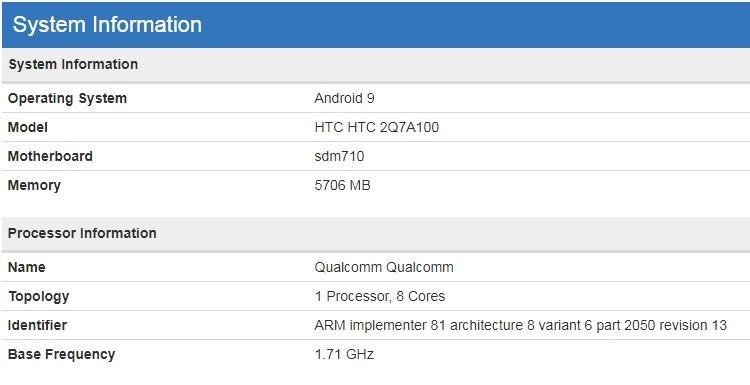 Смартфон среднего уровня HTC с 6 Гбайт ОЗУ засветился в бенчмарке