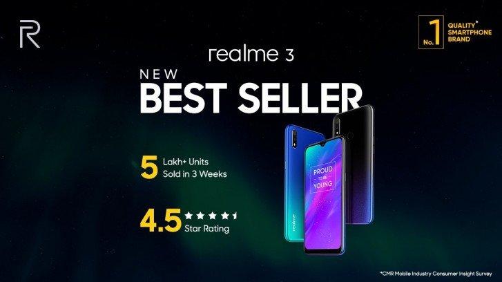 Продано полмиллиона смартфонов Realme 3 за три недели, Realme Pro 3 представят уже в апреле