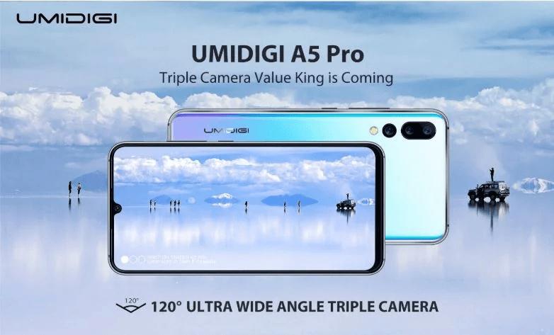 Тройная широкоугольная камера, 6 ГБ ОЗУ и большой аккумулятор. Umidigi A5 Pro получит флагманские характеристики при цене 0