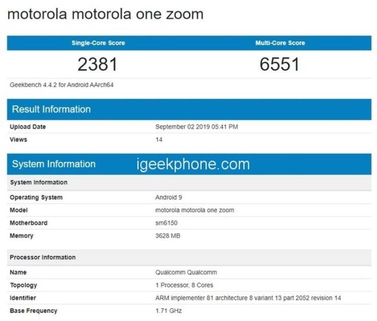 Смартфон Motorola One Zoom появился в базе Geekbench с чипом Snapdragon 675 и 4 Гбайт ОЗУ