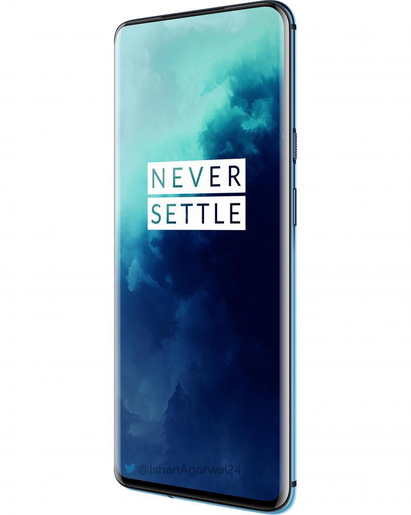 Синий OnePlus 7T Pro на рендерах с разных ракурсов