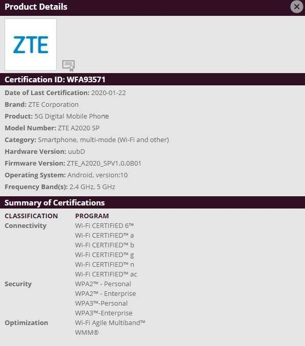 Смартфон ZTE Axon 10s Pro 5G обеспечит поддержку Wi-Fi 6