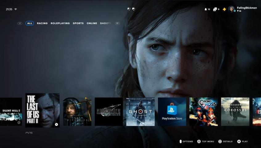 Главное меню PlayStation 5 на примере ожидаемой игры The Last of Us Part II