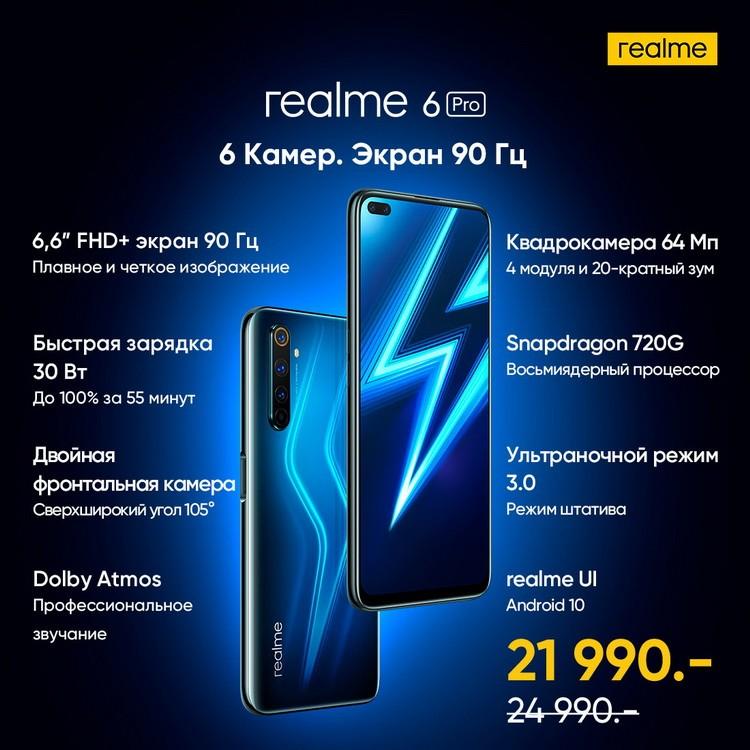 Практически флагманский телефон Realme 6 Pro с продвинутой камерой представленв России