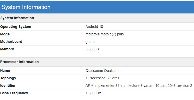 Moto E7 Plus станет одним из первых телефонов на микропроцессоре Snapdragon 460