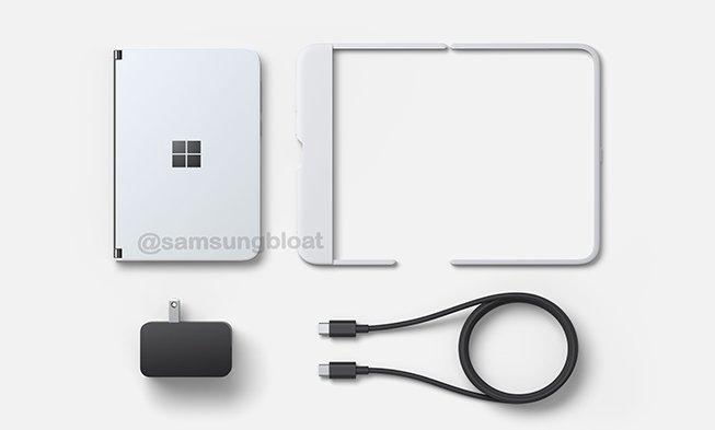 Сгибающийся смартфон Microsoft на качественных изображениях с аксессуарами и ценой
