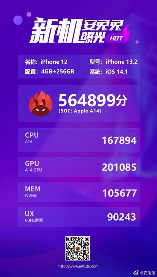 Apple iPhone 12 и iPhone 12 Pro появились в тесте AnTuTu, но не впечатляют результатами