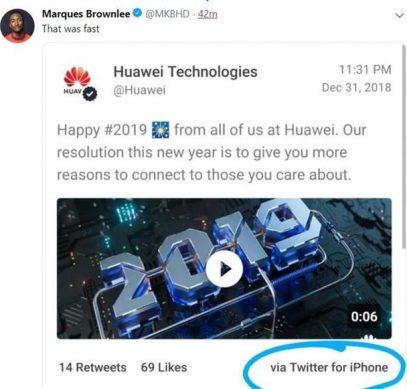 Официальное новогоднее поздравление Huawei было отправлено... с iPhone