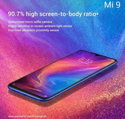 Экран смартфона Xiaomi Mi 9 займёт более 90% площади лицевой поверхности
