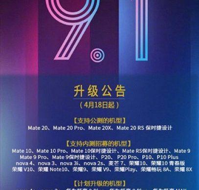 Прошивку EMUI 9.1 получит 49 моделей смартфонов и планшетов Huawei и Honor