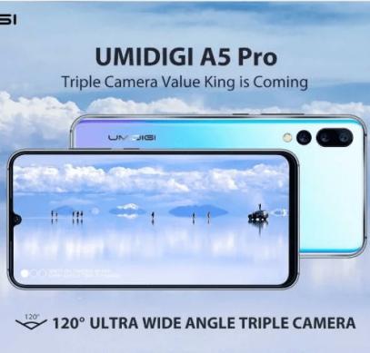 Тройная широкоугольная камера, 6 ГБ ОЗУ и большой аккумулятор. Umidigi A5 Pro получит флагманские характеристики при цене $150