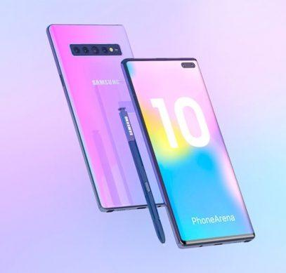 Один из предполагаемых вариантов дизайна Samsung Galaxy Note 10
