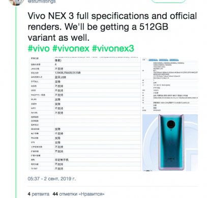 Изображения Vivo NEX 3 с сайта TENAA