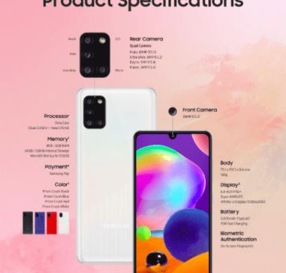 Анонсирован Samsung Galaxy A31: дисплейный сканер, квадрокамера и емкая батарейка – фото 1