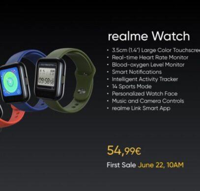Недорогие умные часы Realme Watch вышли в Европе